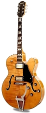 Xaviere XV-975 Big Body Jazz Guitar Gold Foil Pickups Vintage Natural Flame Maple