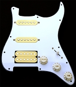 Humbucker Equipped HSS Guard- Vintage Cream, 3-Ply White Pickguard