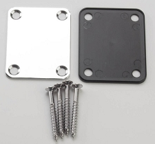 Fender style neckplate, screws and black mount plate