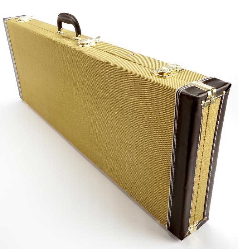 premium genuine tweed hardshell case fits strat tele bolt on guitars. Black Bedroom Furniture Sets. Home Design Ideas
