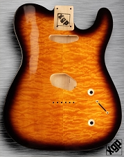 XGP Arched Top Tele Body QUILT Maple 2 Tele Pickups Sunburst  - Blem