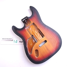 Satin Finished, 3-Tone Sunburst, Double Cutway Body, Swimming Pool Rout - LEFTY