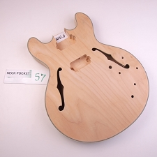 Unfinished, ES-335 style Long Tenon Maple Body with Binding, HH