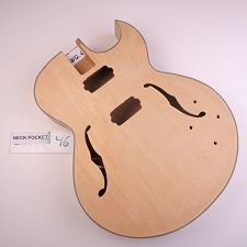 Unfinished, Full Sized HOLLOW Body All Laminated Maple, Bound F Holes, HH