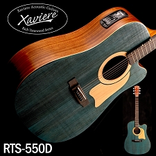 Xaviere ALL WOOD Blue Acoustic/Electric Cutaway Raised Grain Dreadnaught