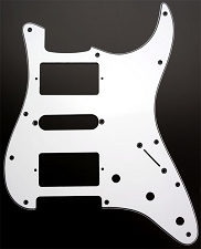 HSH Humbucker-Single-Humbucker Pickguard for Covered Pickups- 3 Ply White