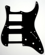 HSH Humbucker-Single-Humbucker Pickguard for Covered Pickups- 3 Ply Black