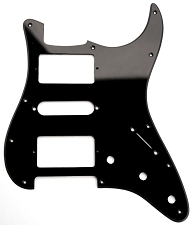 HSH Humbucker-Single-Humbucker Pickguard for Covered Pickups- Single Ply Black