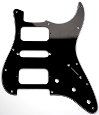 Strat HSH Radius Corner Pickguard for OPEN Pickups- 3 Ply Black