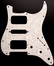 Strat HSH Radius Corner Pickguard for OPEN Pickups- Pearloid White