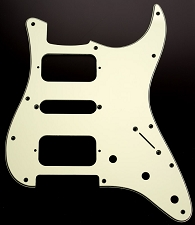 Strat HSH Radius Corner Pickguard for OPEN Pickups- 60's Mint Green