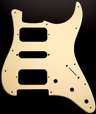 Strat HSH Radius Corner Pickguard for OPEN Pickups- Single Ply Cream