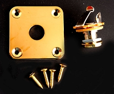 Sqaure Gold Output Plate- Les paul, Telecaster Fit- FREE jack and screws!