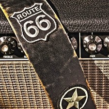 Slickstraps Embroidered Patch Leather Strap- Route 66 - Black