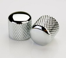 2 Chromed Knurled Brass Tele Knobs for Split Shaft Pots