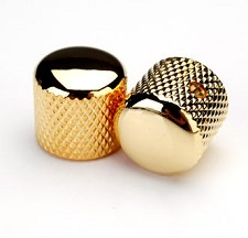 Gold Knurled Brass Tele Knobs for Split Shaft Pots -