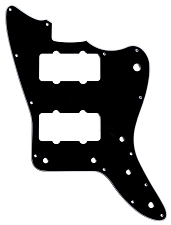 XGP 3 Ply Black Offset Pickguard- 2 Jazzmaster Pickups
