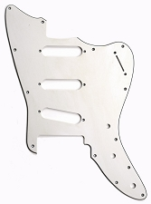 XGP 3 Ply Hand Aged White Offset Strat Trem Pickguard- 3 Singles