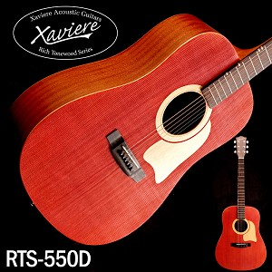 Xaviere ALL WOOD Raised Grain Dreadnaught Red Spruce Top