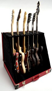 "Premium ""Red Levant""  6 Guitar Case- Folds to Briefcase! OUR BEST!"