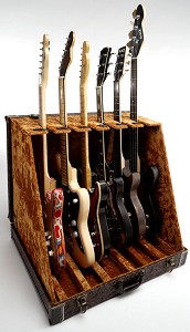 "Premium ""Tooled Leather""  6 Guitar Case- Folds to Briefcase! OUR BEST!"