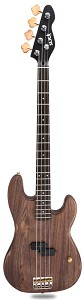 Brown Woodgrain Slick SLPB Solid Ash Bass Guitar Hand Aged SLick Alnico Pickup