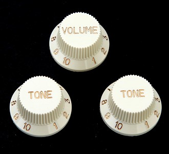 "Set of Three ""Vintage Ivory"" Strat replacement knobs"