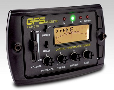 GFS EAP-520 Acoustic Preamp LCD 4-Band EQ onboard tuner