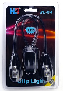 Quad LED Clip Light SUPER bright TWO Gooseneck retail packaged