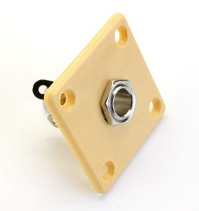 Square Metal GOLD plated Les Paul output jack plate with Jack and FREE Screws!